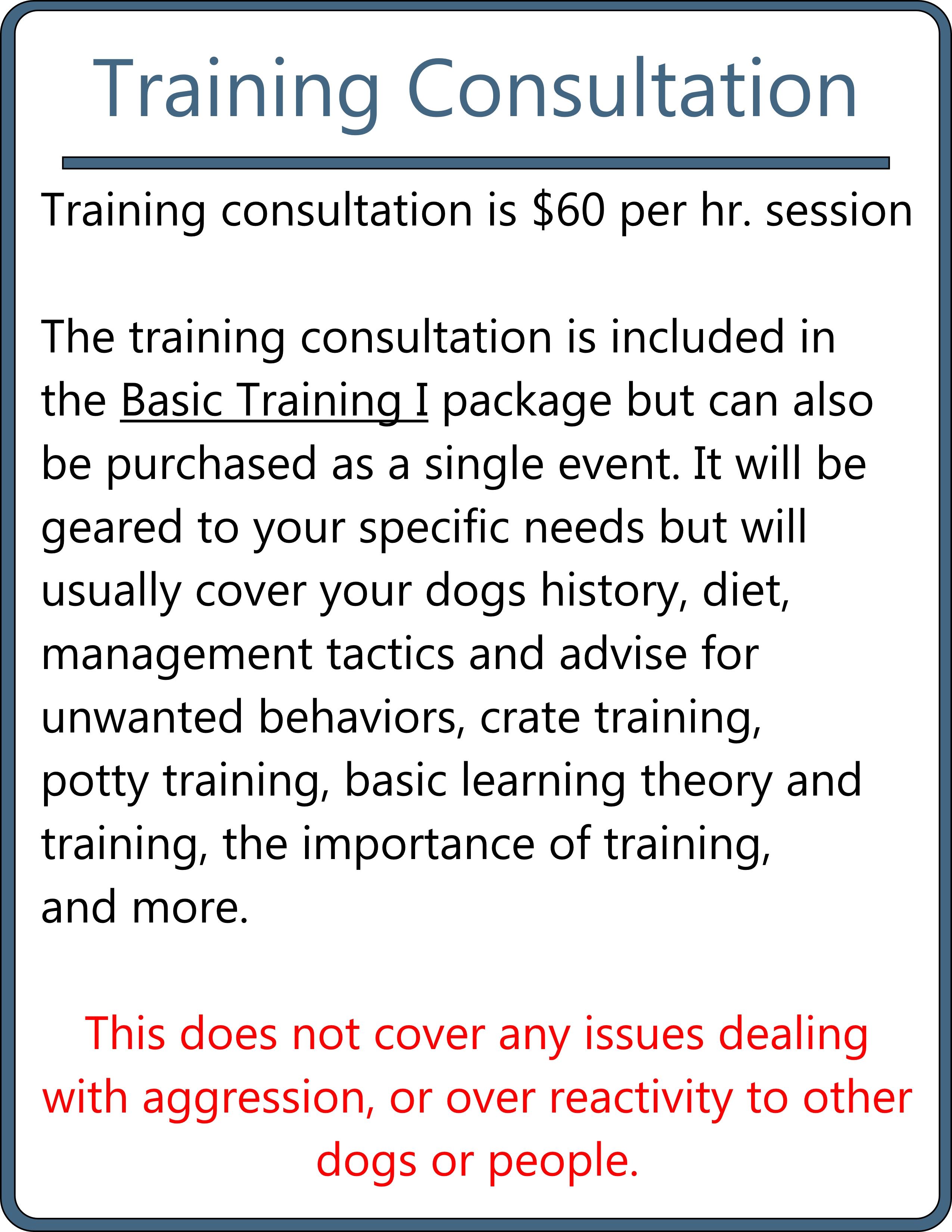 training consultation